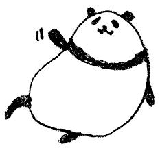 パンダの手描きイラストゆるいかわいい手を振る えんぴつと画用紙