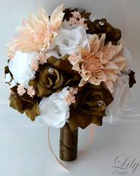 020 silk flowers decorations flower designs piece package wedding bouquet bride bridal party bouquets chocolate brown peach white lily of angeles