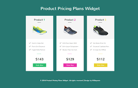 Product Pricing Plans Widget