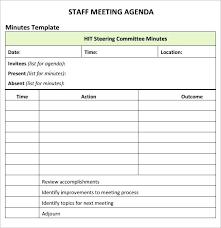Employee Meeting Agenda Template Staff Free Deepwaters Info