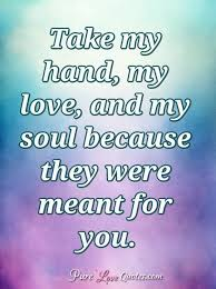 Quotes For My Love Awesome Take My Hand My Love And My Soul Because They Were Meant For You