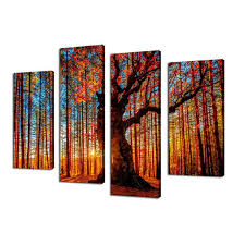 wall art canvas painting red tree sunset forest 4 piece large sunshine landscape modern artwork on large 4 piece wall art with wall art canvas painting red tree sunset forest 4 piece large