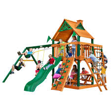 navigator wooden playset with timber shield posts monkey bars and alpine