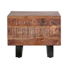 Table d'appoint carrée en bois massif et métal