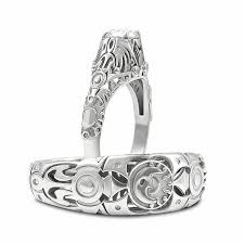 custom majora s mask inspired his and her wedding ring set in 14k white gold with a nbsp