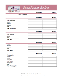 Free Event Planner Templates Free Printable Budget Worksheets Download Or Print Event