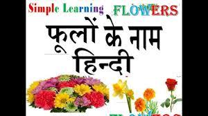 Flowers Name Chart English To Hindi