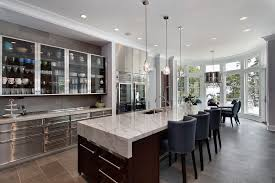 contemporary kitchen with stone tile by highgate builders zillow rhys smoke glass prism round chandelier 43 color