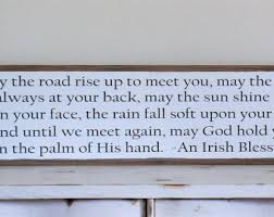 may the road rise to meet you wood sign irish blessing wooden sign inspirational wall art large framed wooden sign wedding gift 49 x13  on irish blessing wall art with irish blessing etsy