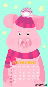 November 2020 Calendar Clip Art Cute Pig In A Hat Of Santa Claus With A Garland Monthly