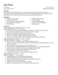 Industrial Mechanic Resume Example Offering Simple Summary