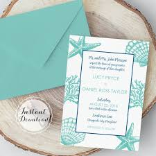 Border Template For Word Inspiration Seashell Border Wedding Invitation Template Beach Wedding Etsy