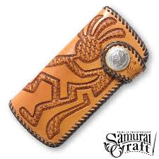 long wallet 2 kokopelli basketweave double stitched tanning processing leather goods fabric handmade