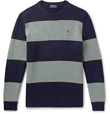 Design Workers Striped Crew Neck Sweater Polo Ralph Lauren Striped Cotton Sweater