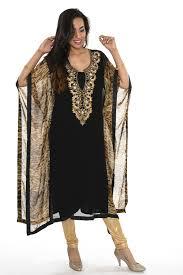Black And Gold Animal Print Kaftan Style Long Kurti Salwar Kameez