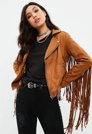 brown faux suede fringe biker jacket me9238