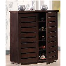 Contemporary Wenge Shoe Cabinet With 2 Doors And 1 Drawer