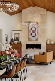 Oriental Zen Inspired Dining And Living Room With Circular Chandeliers  (Image 18 of 20)