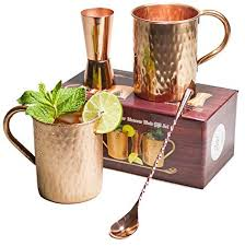 gift set moscow mule copper mugs 100 pure copper no nickel interior moscow mule gift set includes two 16 oz pure copper hammered mugs double sided