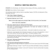 Minutes Sample Format Monthly Meeting Minutes Sample Template Health And Safety