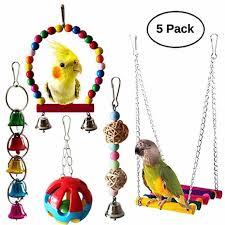 <b>5 Pieces Pet Parrot</b> Toy Set Parrot Hanging Bell Pet Bird Cage ...