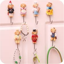3pcs Cute cartoon decorative wall hook Door Sticky hangers strong adhesive hooks  key holder organizer home