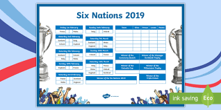 Six Nations Rugby Championship 2018 Wall Display Chart Cfe