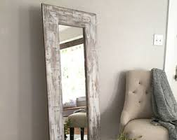 white full length mirror. White Washed Rustic Floor Mirror, Distressed Farmhouse Full Body Wooden Frame Length Mirror