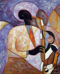 jazz saxophone player art band oil painting