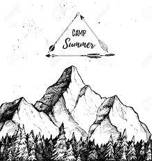 手書きのベクトル イラスト 夏のキャンプ山と森風景自然
