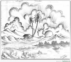 1024x902 natural drawing with pencil indian natural scenery pencil drawing