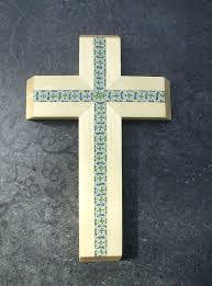 wall crosses for aspen wood cross with fancy inlay church catholic