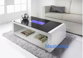 new matrix high gloss coffee table white black gloss with blue led lighting 5036464053967