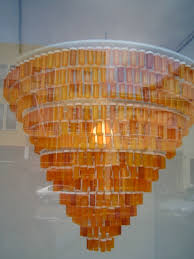 yep those are prescription pill bottles made into a chandelier