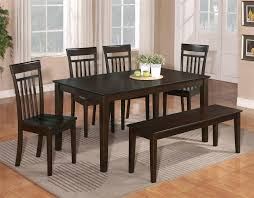 6 pc dinette kitchen dining room set table w 4 wood chair and 1 bench