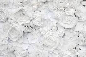 Flower Paper Mache Decorative Background From White Paper Flowers Of A Paper Mache