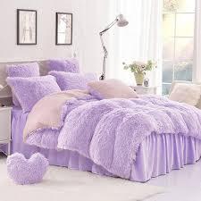 high quality purple blue pink creamy white cashmere wool velvet ruffle duvet cover bedding