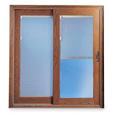 patio doors with blinds between the glass