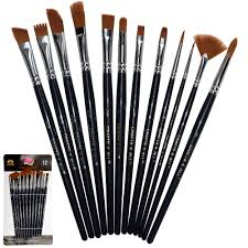 paint brushes 12 pieces set professional paint brush set round pointed tip nylon hair artist acrylic brush for acrylic watercolor oil painting by crafts 4