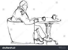 round table clipart black and white. vector sketch of a man at the round table in cafe drinking coffee clipart black and white