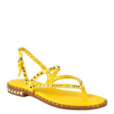 peps sandals yellow leather gold studs