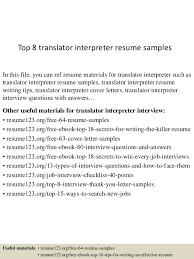 Interpreter Job Description Top 8 Translator Interpreter Resume Samples