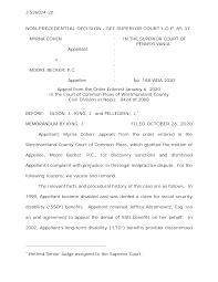 J-S36024-20 NON-PRECEDENTIAL DECISION - SEE SUPERIOR COURT I.O.P. 65.37 MYRNA  COHEN Appellant v. MOORE BECKER, P.C. Appellee : :