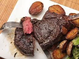 er basted bison ribeye steak with crispy potatoes recipe