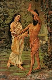 fine art painting vishwamitra and menaka by artist raja ravi varma
