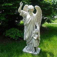 Design Toscano Guardian Angel Child's Prayer 34-in Angels and Cherubs Garden  Statue