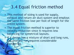 Friction Chart For Round Duct Ppt 3 4 Equal Friction Method Powerpoint Presentation