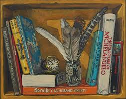 bookshelf v with feathers in a jam jar an old travelling alarm clock