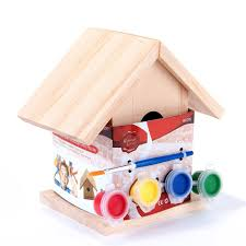 paint your own wooden bird house kit 13cm high