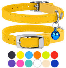 leather cat collar breakaway safety collars elastic strap for x small cats kitten with bell beige com